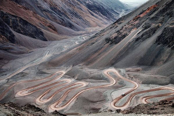 Argentina-2010.The road going to veladero Mine. Conconta valley from conconta point at 5000meters high. the road you see comes from the last village od tudcum going to Veladera mine.