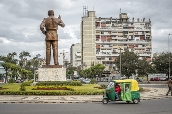 Independence Square. Samora Machel statue, leader who guided towards independence.