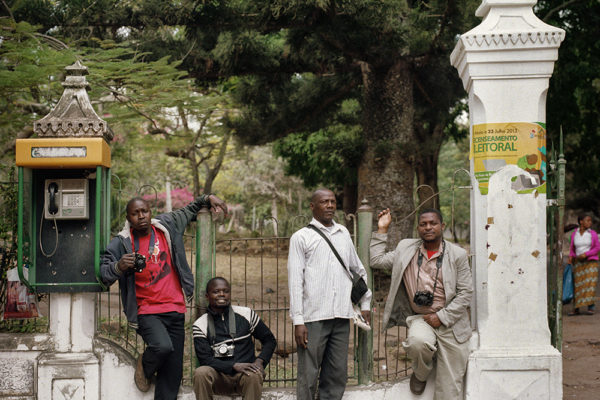 Photographers waiting at the entrance of Tunduru Gardens, from left to rigth, Fernando Costa, Americo Balat, Carlos Manchate and Francisco Dengo.