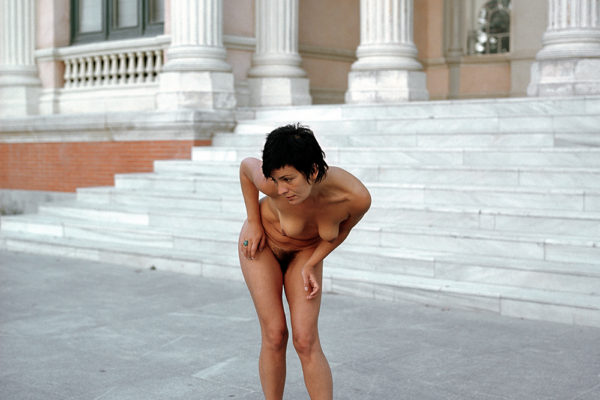 SPAIN. MADRID (2005) from Argentina Jacqueline Bonacic-Duric works as a nude model posing for artists. Photograph in El retiro park