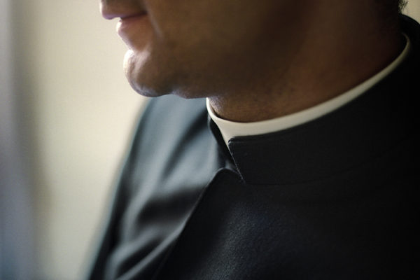 Clerical collar detail. Neatness in dress is one of the most important hallmarks of the order.