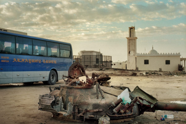 Lybia. 01-12-2011Remains of a destroyed tank on the road that joins Benghazi to Sirte. This road was the scene of the most cruel battles and where the NATO bombings began when Gaddafi's troops were besieging the city of Benghazi.